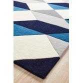 Network Rugs Digital Designer Wool Blue Grey White Rug
