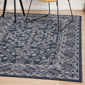 Network Rugs Navy & White Traditional Power-Loomed Outdoor Rug