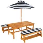 KidKraft Kids 4 Piece Outdoor Timber Table & Bench Set