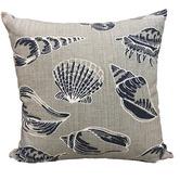 Vintage Beach Shack Indigo Seashells Cotton Cushion