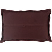 NSW Leather Wine Nappa Rectangular Patchwork Leather Cushion
