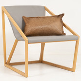 NSW Leather Tan Hartebeest Hide Lumbar Cushion