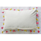 Bungalow Living Blue Dhurrie Large Lumber Cushion with Pink & Yellow Tassels