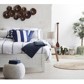 Bungalow Living Navy & Ivory Stripe Indoor/Outdoor Cushion
