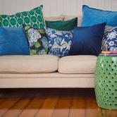 Bungalow Living Green Peacock Cotton Cushion