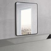 Expert Homewares Black Rectangular Aluminium Wall Mirror with Brackets