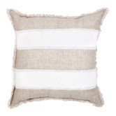Quayside Trading Striped Beige & White Linen Fringed European Cushion