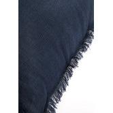 Quayside Trading Navy & White Linen Fringed European Cushion