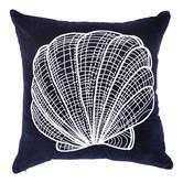 Quayside Trading Navy Blue Velvet Sea Shell Cushion