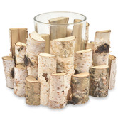 Lifestyle Traders Single Birch Wood & Glass Candle Holder
