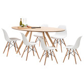 Continental Designs Betty Dining Table Set with 6 Replica Eames Chairs