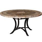 Cast Iron Outdoor Sunray Round Mosaic Stone Table On Iron Base