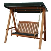 Sage Breeze Outdoor Rivers 2 Seat Hardwood Swing with Canopy & Cushion