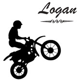 HM Wall Decal Personalised Name and Dirt Bike Wall Sticker set