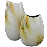 Rovan Large Ivory Elements Lacquer Flat Vase