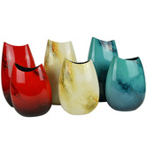 Rovan Large Red Elements Lacquer Flat Vase