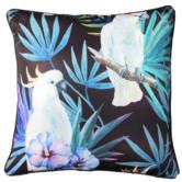 Glamour Paradise Black Cockatoo Bird Outdoor Cushion