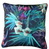 Glamour Paradise Black Cockatoo Flower Outdoor Cushion