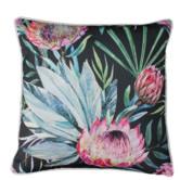 Glamour Paradise Black Protea Flower Outdoor Cushion