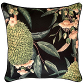 Glamour Paradise Black Exotic Blooms Outdoor Cushion