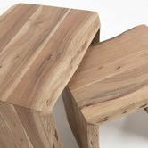 Linea Furniture 2 Piece Teo Wood Nesting Tables Set
