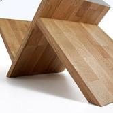 Linea Furniture Sculptural Glass & Oak Wood Coffee Table