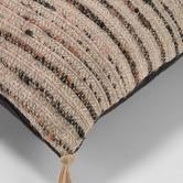 Linea Furniture Brown Striped Raine Tasseled Cotton-Blend Cushion