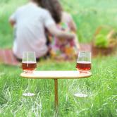 Sherwood Housewares Bamboo Picnic Wine Table