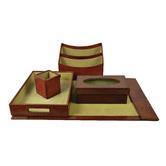 Kundra 5 Piece Renzo Leather Desktop Set