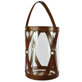 Kundra Tan Cylinder Leather & Glass Hurricane with Handle