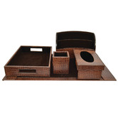 Kundra 5 Piece Crocodile Print Leather Desktop Set