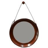 Kundra Tan Leather Round Mirror