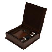 Kundra 4 Piece 177ml Leather Hip Flask Box Set