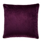 Brooklyn and Bella Mulberry Luxury Cream Piped Velvet Cushion