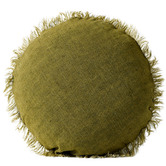 Aura By Tracie Ellis Fringed Vintage Wash Linen 45cm Round Cushion