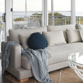 Aura By Tracie Ellis Fringed Vintage Style Linen 45cm Round Cushion