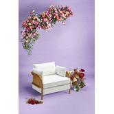 Hyde Park Home Hera Linen-Blend Rattan Club Chair