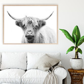 Design Mondo Monotone Highland Cow Printed Wall Art