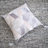 Art Hide Grey Selva Leather Cushion Cover