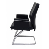 Rein Office Black Hero Faux Leather Sled Base Visitor Chair