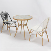 Temple & Webster White Paris PE Rattan Outdoor Cafe Dining Chairs
