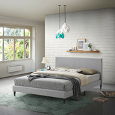 Temple & Webster Grey Logan Upholstered Bed