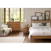 Temple & Webster Olsen Scandinavian Style Curved 1 Drawer Bedside Table