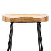 Temple & Webster 66cm Premium Vintage-Style Elm Wood Barstools with Black Legs