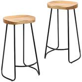 Temple & Webster 75cm Premium Vintage-Style Elm Wood Barstools with Black Legs
