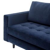 Temple & Webster Navy Mera 3 Seater Velvet Sofa