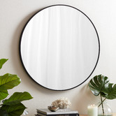Temple & Webster Tate Round Metal Framed Wall Mirror