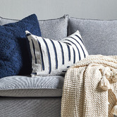 Temple & Webster Hampton Embroidered Cotton Cushion