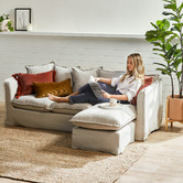 Temple & Webster Natural Montauk Slipcover Reversible Chaise Sofa
