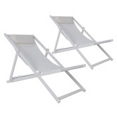 Temple & Webster White Kos Aluminium Outdoor Sling Deck Chairs